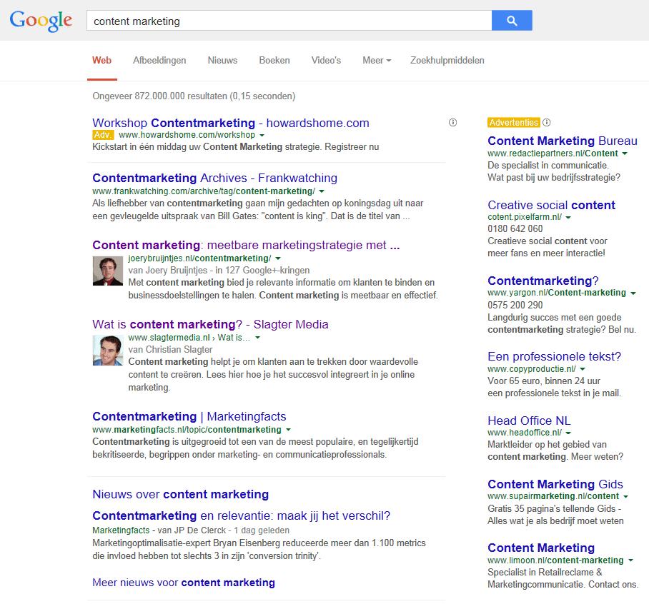 Positie content marketing in zoekresultaten